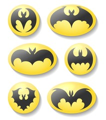 Bat buttons. Dracula or batman silhouette vector symbol set, vector bats labels isolated on white background