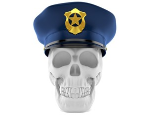 Skull with police hat