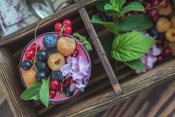 Multivitamin summer berry delicious panacotta.
