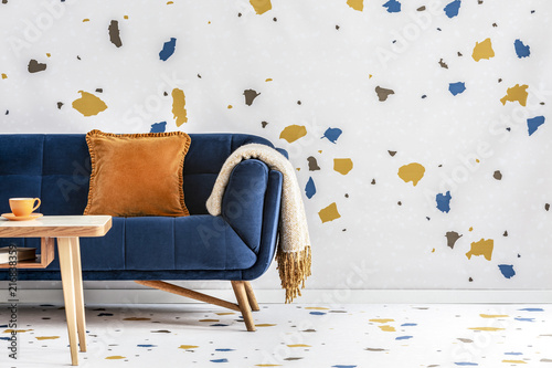 Fine Orange Pillow And Blanket On Navy Blue Sofa In Colorful Theyellowbook Wood Chair Design Ideas Theyellowbookinfo