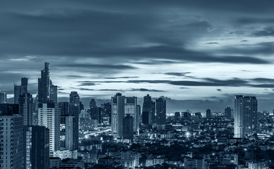 night urban cityscape with blue tone filter