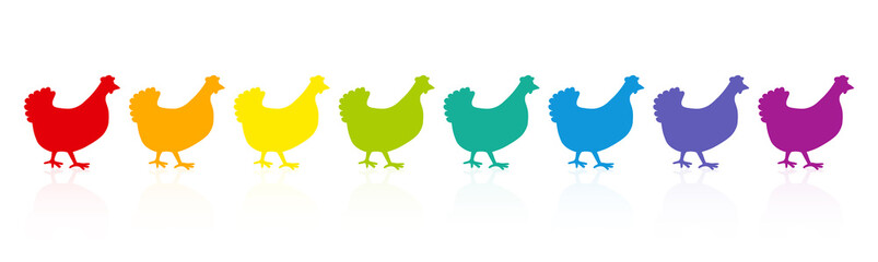 Colorful chicken parade. Rainbow spectrum hens. Colored fowls in single file. Comic illustration on white background.