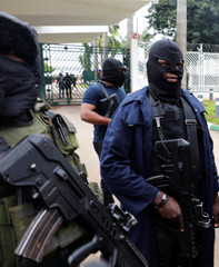 Members of the security forces block the entrance of the National Assembly in Abuja