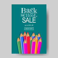 back to school poster template with pencil color. vector illustration.