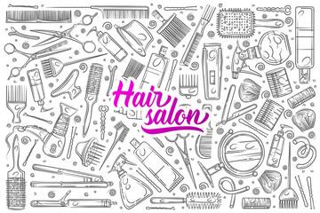 Hand drawn hair salon tools.