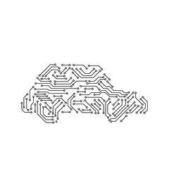 Printed circuit board black and white car shape computer technology, vector