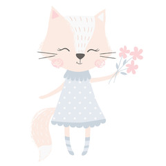 Cute fox girl print. Sweet animal baby