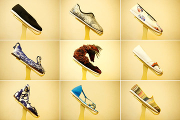 A combination of pictures shows designs of the traditional 'thousand-layer' cloth shoe at the Neiliansheng shoemaker in Beijing