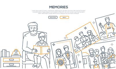Memories - line design style banner