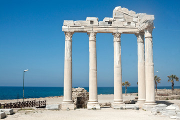 The Temple of Apollo in Side, Turkey, on sunset