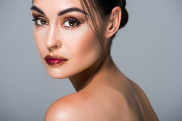 portrait of stylish beautiful model, isolated on grey