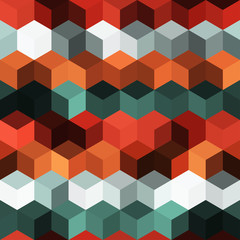 Hexagon grid seamless vector background. Childish polygons bauhaus corners geometric design. Trendy colors hexagon cells pattern for game background. Honeycomb shapes mosaic backdrop.
