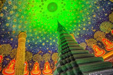 Green Pagoda at Wat Paknam in Bangkok Thailand