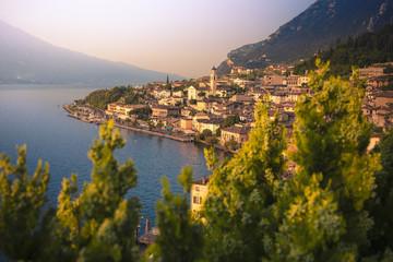 Sunrise in Limone del Garda, on the west side of Garda Lake. Brescia district, Lombardia, Italy