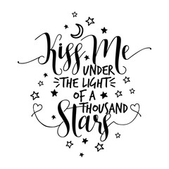 kiss me under the light of a thousand stars - lovely Concept with lovely hearts. Good for scrap booking, posters, textiles, gifts, wedding sets.