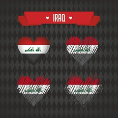 Iraq with love. Design vector broken heart with flag inside.