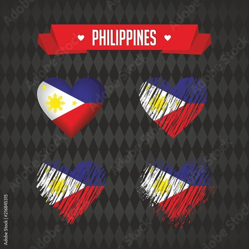 Philippines Heart With Flag Inside Grunge Vector Graphic Symbols