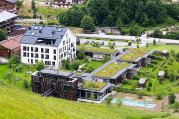 Aerial view of extensive green living sod roofs with vegetation Wall mural