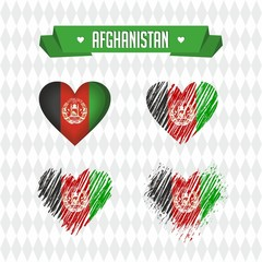 Afghanistan with love. Design vector broken heart with flag inside.