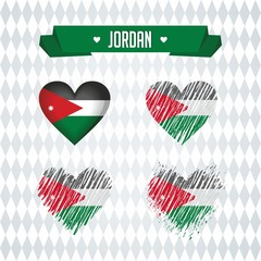 Jordan heart with flag inside. Grunge vector graphic symbols