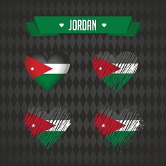 Jordan. Collection of four vector hearts with flag. Heart silhouette