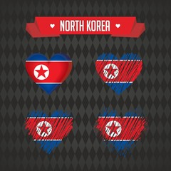 North Korea heart with flag inside. Grunge vector graphic symbols