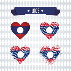 Laos heart with flag inside. Grunge vector graphic symbols