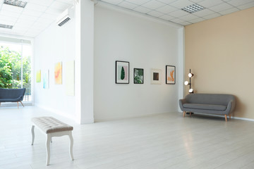 Empty hall of modern art gallery with exhibits