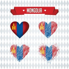 Mongolia. Collection of four vector hearts with flag. Heart silhouette