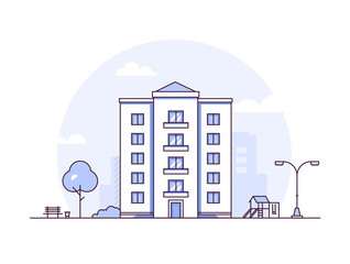 Urban landscape - modern thin line design style vector illustration