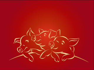 2019 Happy Chinese New Year, Hieroglyphs, three gold pigs on red gradient background. Greeting card, banner, poster, flyer or invitation. Copy space for your text. Hand drawn vector illustration.