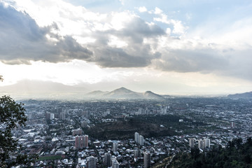 Panoramic view of Santiago de Chile and the surrounding mountains.