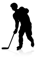 Silhouette Ice Hockey Player