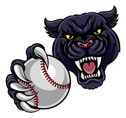 Black Panther Holding Baseball Ball Mascot