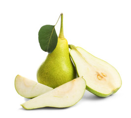 Whole and sliced pears on white background
