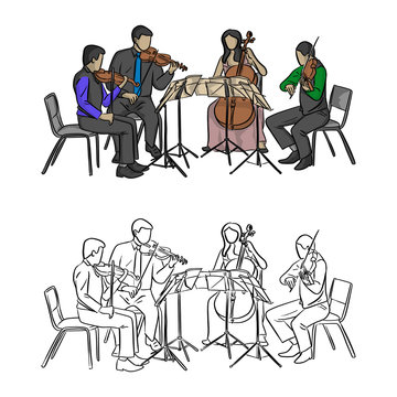 group of musicians playing in quartet vector illustration sketch doodle hand drawn with black lines isolated on white background