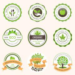 Set of green label colored vintage style designs on light background