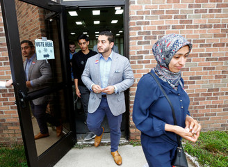 Democratic Governor candidate Abdul El-Sayed leaves after voting at Lakeside Assembly of God for the Michigan Primary Election in Shelby