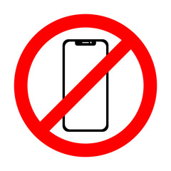Vector no cell phone sign. Smartphone icon