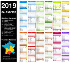Calendrier 2019 sur 12 mois MODIFIABLE avec non vectorisés / Calendrier scolaire complet, numéros d'urgence, lune, semaine