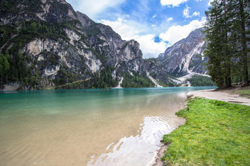 Lake Braies in Dolomites, Italy