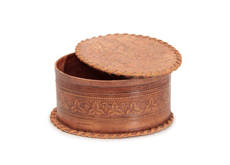 Antique wooden box on a white background