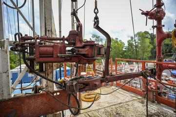 Drilling rig equipment on rig floor