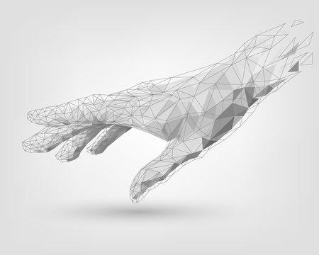 Polygonal mesh white human hand, technology, modeling