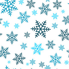 Snowflake seamless pattern. Snow on blue background. Abstract wallpaper, wrapping decoration. Symbol winter, Merry Christmas holiday, Happy New Year celebration Vector illustration.