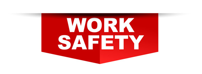 red vector banner work safety