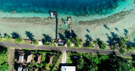 surf club in aerial view, french polynesia