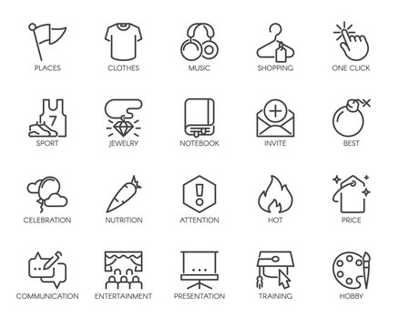 20 linear icons on sports, healthy eating, lifestyle, hobbies, online shopping and web education. Graphic labels or buttons for thematic sites and mobile app interfaces, game element. Vector isolated