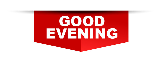red vector banner good evening