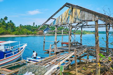 Abandoned house by the river, Ngwesaung, Myanmar